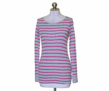 American Eagle Gray Pink Striped Knit Jersey Long Sleeve T-Shirt Size  S