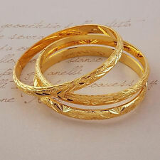 3pcs/set 18k Yellow Gold Filled Womens Bracelet Bangle Dia 60mm