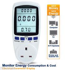 3-pin UK Plug LCD Energy Monitor Power Meter Electric Usage Monitoring Socket