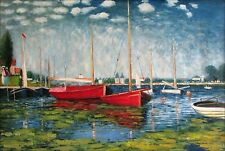 Claude Monet Red Boats Repro, Quality Hand Painted Oil Painting, 24x36in