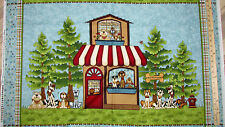 "Pet Rescue Dog Shelter Light Teal Fabric Panel 23"" Repeat   #8480P"