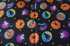 Halloween Cotton Quilt Fabric  Badges Ghosts Pumpkins Bats  BFab Boo