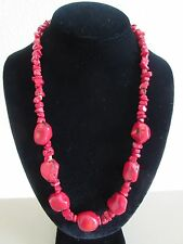 "Fashion Jewelry Necklace 23"" Coral Bright Red Handmade, With Silk Pouch, NEW"