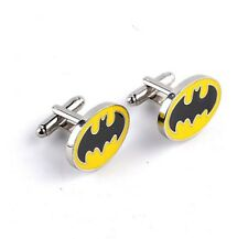 Quality Cufflinks Batman Oval Cuff links silver Colour Bat Man Logo French Shirt