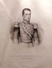 Francisco de Asís de Borbón, Duque de Cádiz. Litografía original, ca. 1860