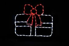 Single Gift Red Ribbon/White Box LED lighted metal wire frame outdoor display