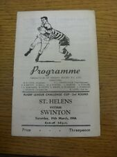 19/03/1966 Rugby League Programme: St Helens v Swinton [Challenge Cup] (folded,