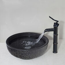 Bathroom Hand Made Ceramics Basin Sink Set With Oil Rubbed Bronze Tap Mixer