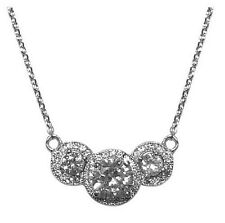 Dainty Round AAA Cubic Zirconia Halo Rhodium Necklace