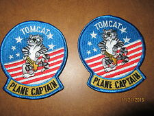 Pair of  2  NEW Patches Collectable Air force Tomcat Plane Captain cat