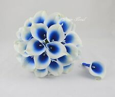 Royal Blue Calla Lily Bridal Bouquet Boutonnieres Real Touch Flowers Weddings