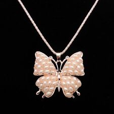 Fashion Gold Butterfly pendant sweater chain mosaic crystal Pearl Long neck LP87