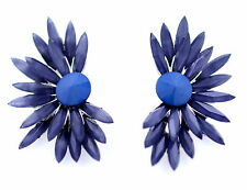 Cuff style blue bird feather / flower stud earrings