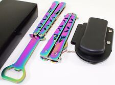 Rainbow Balisong Practice Butterfly Training Style Bottle Opener Knife + Sheath