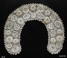 Antique Irish Crochet Lace Collar Strawberries & Flowers Dolls Clothes Dressmaki