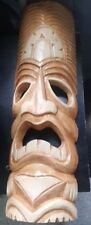 Vtg LG wood carved Tiki Mask tribal face wall art Polynesian