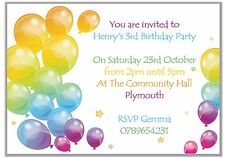 Personalised Childrens Birthday Party Invitations Thank You Balloons Boy Girl