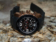 SWISS LEGEND COMMANDER 20067-RG-01 BLACK DIAL ROSE GOLD CASE CHRONOGRAPH MEN'S