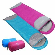 2 X Camping Hiking 3 Season Envelope Hooded Sleeping Bags CLEARANCE LIMITED QTY