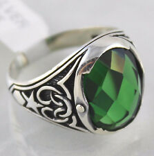 925 Sterling Silver Turkish Handmade Ottoman Emerald  Men Ring Size 10.75 US