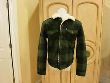 Levis Mens Olive Green/ Black Buffalo Plaid Check Sherpa Trucker Jacket Wool S