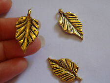 10 leaf charms pendants gold antique jewellery making vintage wholesale