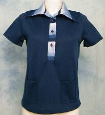 ReTrO-MoD HiS/HeRS VtG 70s POLY STRiPED BiG DiScO COLLAR BOWLiNG POLO SHiRT S/M