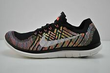 Mens Nike Free 4.0 Flyknit Running Shoes Size 9 Black White Green 717075 011