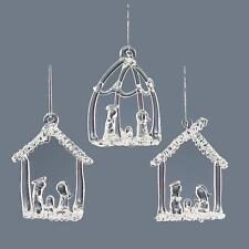 Christmas Tree Decoration - 3 Pack Clear Glass Nativity Scene