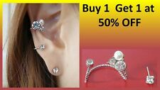 Crystal and Pearl Ear Cuff Wrap Silver Clip On Ear Clamp Stud