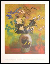 Odilon Redon Exotische Blumen in Vase Poster Kunstdruck mit Alu Rahmen 70x50cm