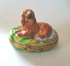 Pierre Arquie Porcelain Limoges Irish Setter Dog on Green Oval Trinket Box