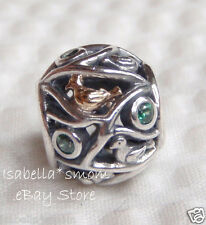 Authentic PANDORA Silver/14K Gold/Green BIRDS OF A FEATHER Charm~Bead 791213CZN