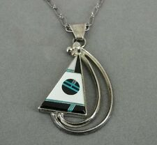 Vintage Large Turquoise MOP Black Onyx Inlays Sterling Silver Pendant Necklace
