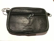 NEW Coins and Card Bag Wallet Pouch Black Zipper Leather Man/Woman with Key Ring