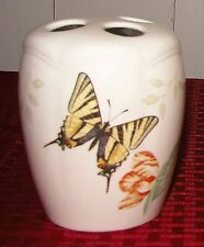 """Lenox Butterfly Meadow 4"""" Toothbrush Holder With Original Stopper - EXCELLENT"""