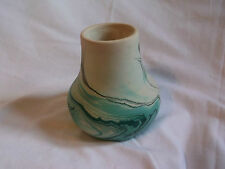 Nemadji Art Pottery Indian River Green Black Swirl Vase 4 3/4""