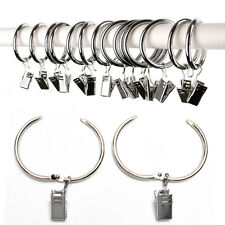 10Pcs Mini Stainless Steel Curtain Hook Metal Ring Hangers with Clips  RI