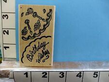 Birthday wishes saying cake and candles rubber stamp 1P