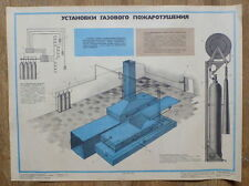1986 RUSSIAN SOVIET POSTER AGITATION FIRE SAFETY GAS FIREFIGHTING SCHEME PICTURE