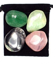CHEST RELIEF Tumbled Crystal Healing Set = 4 Stones + Pouch + Description Card