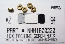 #2-64 Hex Machine Screw Nuts Solid Brass (100)