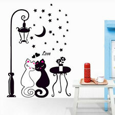 Love Cat Couple Moon Removable Wall Stickers Art Mural Decals Vinyl Home Decor