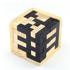 Wooden Intelligence Game 3D Wood Puzzle Brain Teaser Magic Tetris Cube 54 pc