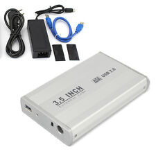 "3.5"" inch USB 3.0 Sata HDD Hard Drive Disk External Case Enclosure Silver UK EW"