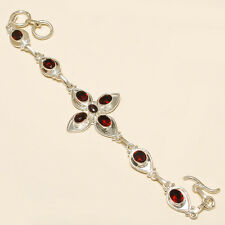 "Gorgeous! Handmade  BRACELET 7-8"" RED GARNET QUARTZ 925 Silver Plated UO43"