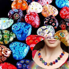 Multi-Color Lots Bluk 100pcs Shining Heart Millefiori Glass Craft Beads 8mm DIY
