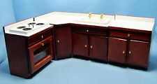 Dollhouse Miniature Kitchen Set with Sink and Oven / Stove and Cabinets ~ WF062W