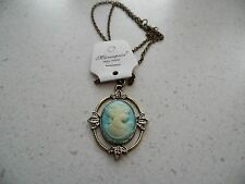 New Vintage Bronze Vampire Diaries Katherine Cameo Long Pendant Necklace