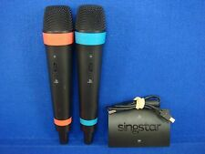 ps3 WIRELESS PAIR OF SINGSTAR MICROPHONES Official 2 Mics + USB Hub Receiver